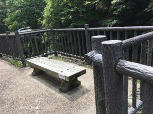 蝉の渓谷のベンチ